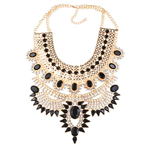 NABROJ Vintage Maxi Chunky Collar Necklace Black Gold Statement Necklace Crystal Big Choker Fashion Jewelry for Women-HL23 Black and Gold