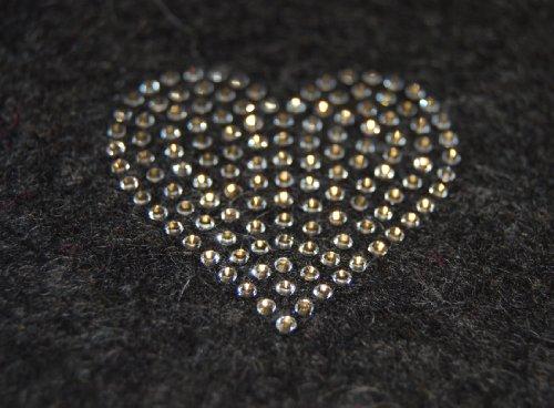 Filztasche für iPhone SE und iPhone 5/S, anthrazit, mit Herz aus Swarovski® Kristalle;