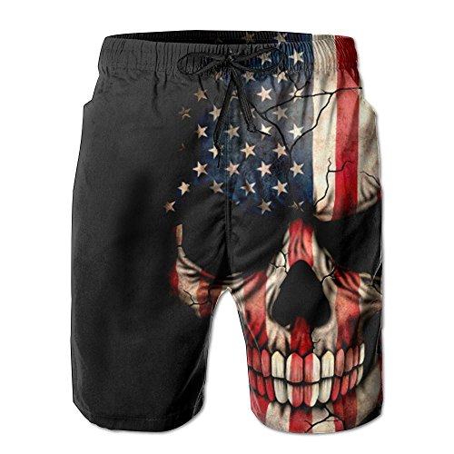 Inlenged American Flag Skull Men's Casual Shorts Swim Trunks Fit Performance Quick Dry -