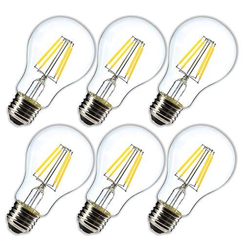 Dimmable 4W LED Globe Bulb A19,4000K Daylight White 400LM,Vintage LED Edison Bulbs, 40 Watt Equivalent, E26 Medium Base,Clear Glass Cover,6- Pack