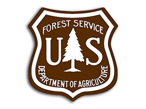 American Vinyl Brown & White US Forestry Shield Shaped Sticker (Logo Forest Service u.s.)
