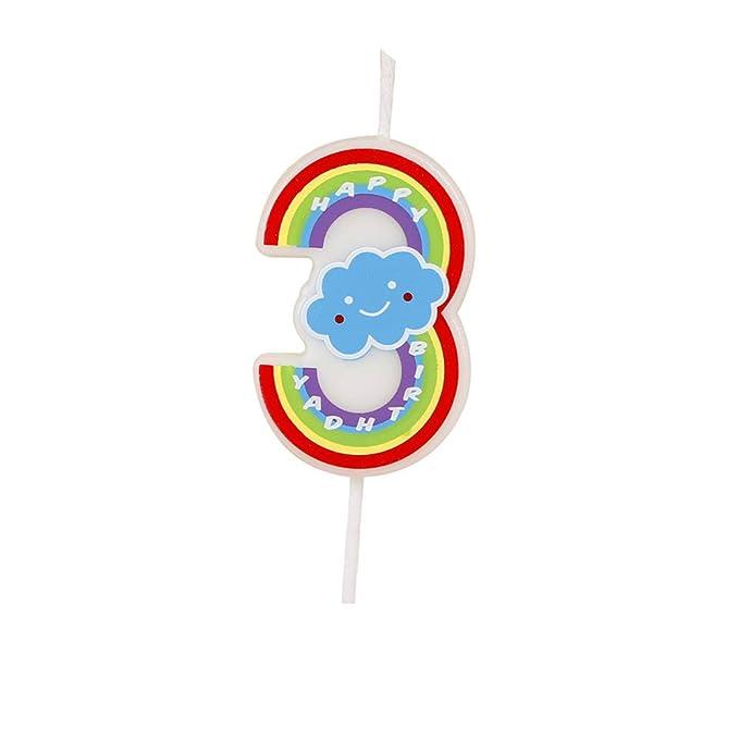 Número velas, 3 números, multicolor, velas de feliz cumpleaños para adultos y niños Happy Time
