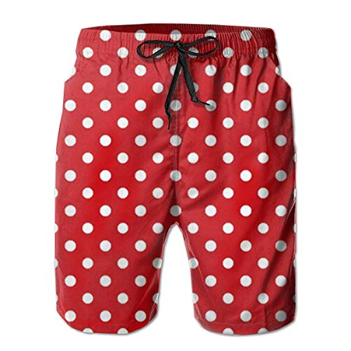 (Oswz Red Polka Dots Men's Beach Swimming Trunks Boxer Brief Swimsuit Swim Underwear Boardshorts with Pocket)