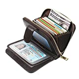 Women's Leather RFID Blocking Spacious Cute Zipper Credit Card Holder Wallet Women Card Case Small Purse (Coffee)