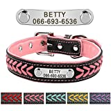 Didog Leather Custom Collar,Braided Leather Engraved Dog Collars with Personalized Nameplate for Small Medium Large Dogs,Pink,M Size