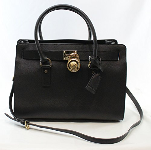 MICHAEL Michael Kors Women's Hamilton Large East/West Satchel Black Handbag (Satchel East Slip West)