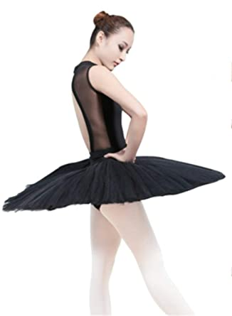 a75c692f3 WENDYWU Women Professional Swan Ballet Tutu Dress Hard Organdy Platter  Performance Leotard Skirt (S,