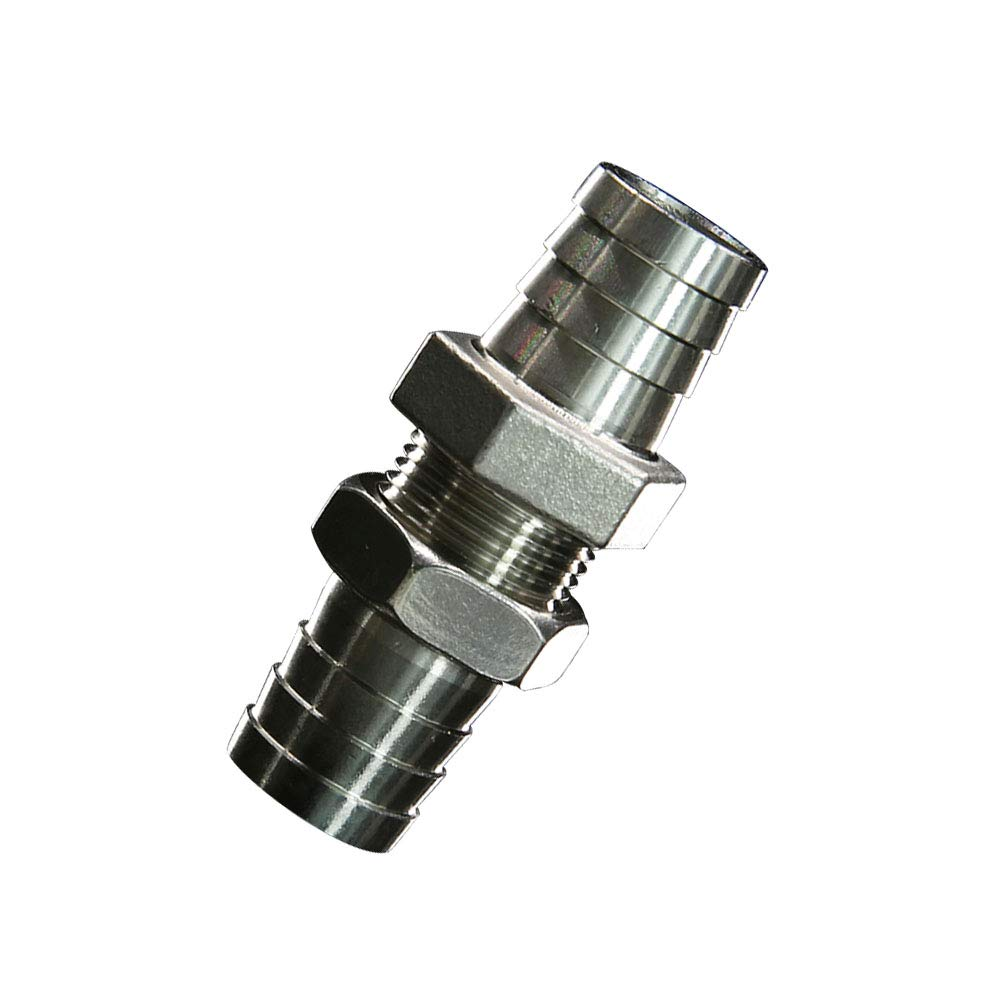 Metalwork 2 Pcs 304 Stainless Steel Hose Barb Fitting, Bulkhead Union (5/8'' Barb x 5/8'' Barb) by Metalwork (Image #1)