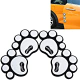 SARTE AW-D48 2-Pairs Dog Footprints Door Guards Sticker with Rubber Scratch Protector (White)