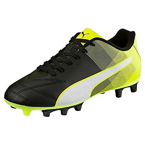 Puma Junior Adreno II FG Chaussures de Football-Noir/Blanc/Jaune