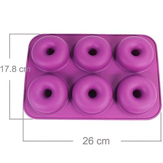 STARUBY 2 Piezas Molde Rosquillas Donuts Silicona 6-cavità para ...