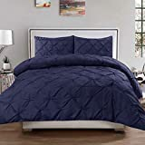 120 Inch King Comforter Whitecottonworld Exclusive 400 TC Decorative 1-Piece Pinch Pleated Pintuck Duvet Cover Oversized King 98x120 Size Zipper Closer with Corner Ties, 100% Natural Cotton Comforter Cover, Navy Blue Solid