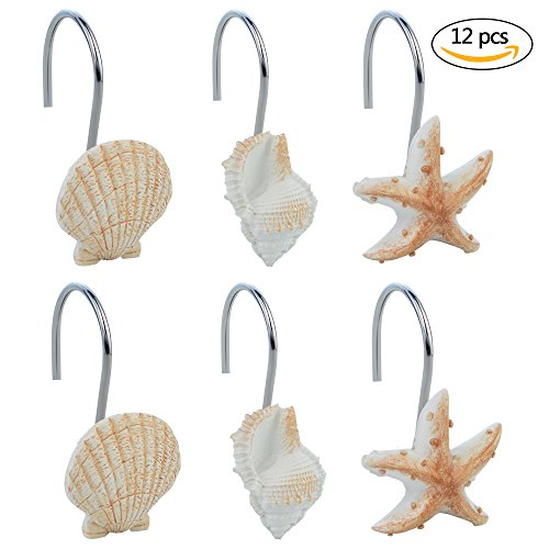 12 PCS Seashell Shower Curtain Hooks Shell Decor