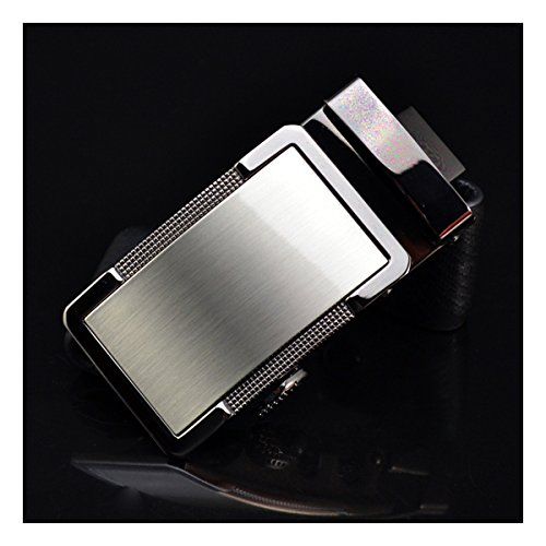 E-Clover Unique Mens Plaque Belt Buckles Automatic Ratchet Belt Buckle 3.5CM (Silver) - Mens Silver Belt Buckles
