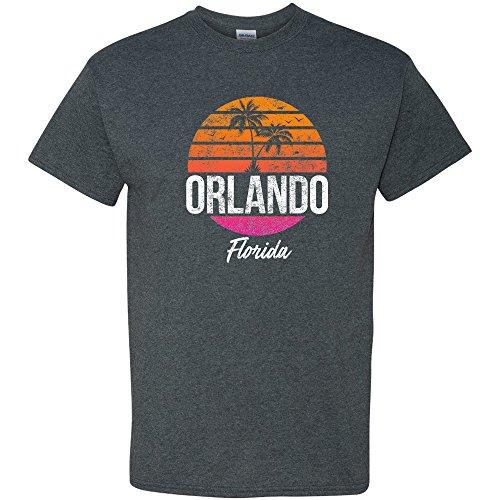 Orlando Resort Retro Sunset - Florida Summer Vacation T Shirt - X-Large - Dark Heather ()