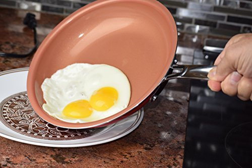 Hedyco Ceramic & Titanium Nonstick Frying Pan, Red, Healthy, Skillet (9.5)