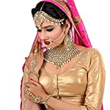 Lucky Jewellery Traditional White Color Gold Plated Kundan Bridal Wedding Set For Girl & women