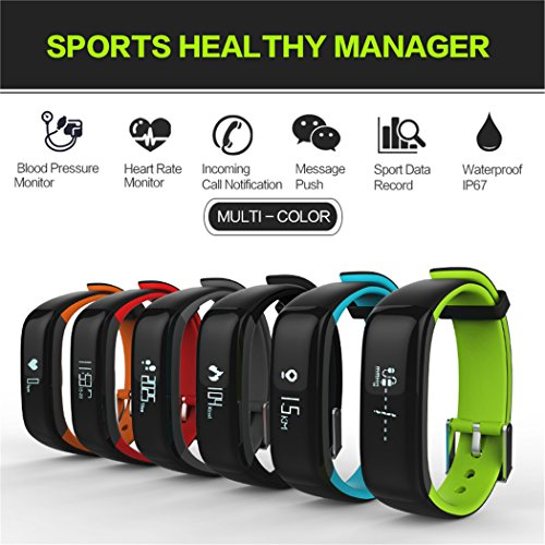 MSRM P1 Waterproof Smart Band Fitness Tracker with Heart Rate Monitor and Blood Pressure Sports Smart Bracelet Call/MSM Reminder Support Android 4.3 or above, IOS 8.0 or above (Black)