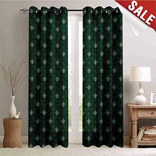Fleur De Lis Decorative Curtains for Living Room Ancient Baroque Pattern Medieval French Motifs Royal Ornate Classic Waterproof Window Curtain W72 x L84 Inch Hunter and Sage Green