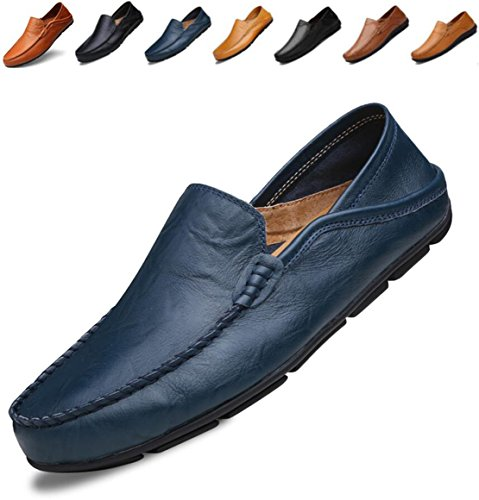 Go Tour Men's Premium Genuine Leather Casual Slip On Loafers Breathable Driving Shoes Fashion Slipper Blue 13/50 ()