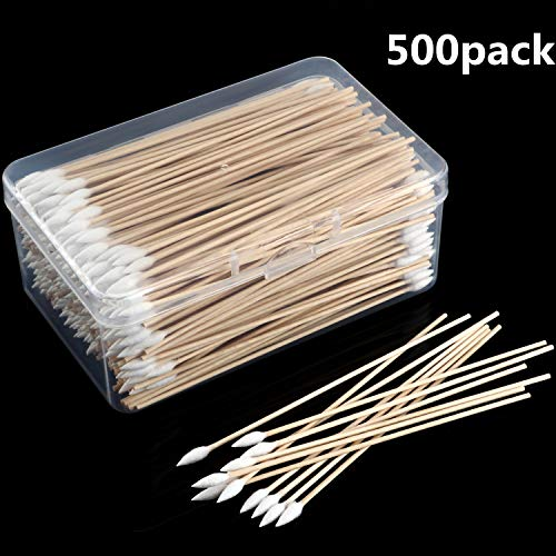 Norme 6 Inch Caliber Cotton Cleaning Swabs Single Round Tip with Wooden Handle Cleaning Swabs for Jewelry Ceramics Electronics in Storage Case (Pointed Tip, 500 Pieces)
