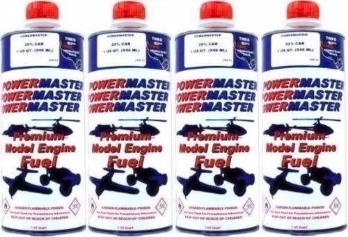 (POWER MASTER ~ FOUR Quarts of 20% Nitro Fuel ~ Premium Model Engine Fuel)