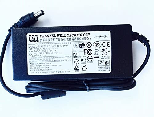12V DC 3.33A 40W AC Adapter For CWT Channel Well Technology PAA040F Power Supply