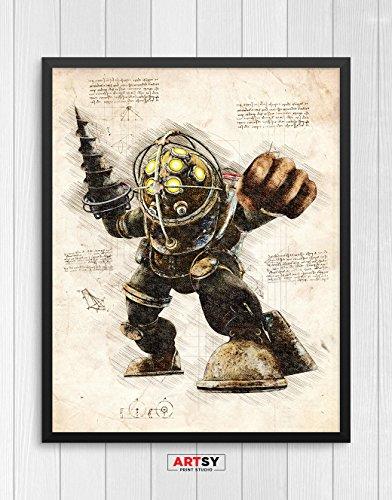 Bioshock print, Big Daddy print, Bioshock poster, Big Daddy poster, game poster N.001 (16 x 20 inch)