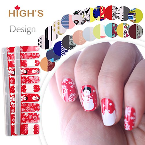 HIGH'S EXTRE ADHESION 20pcs Nail Art Transfer Decals Sticker Design Series The Cocktail Collection Manicure DIY Nail Polish Strips Wraps for Wedding,Party,Shopping,Travelling (Red Christmas)]()
