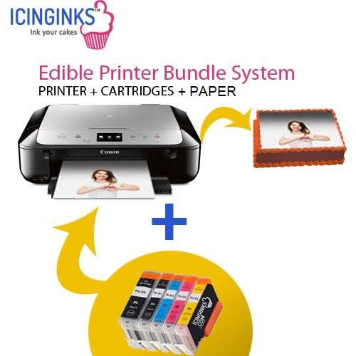Canon Edible Printer Bundle Comes with Refillable Edible Cartridges and 20 Wafer Sheets,Canon Pixma TS6020 (Wireless+Scanner) , Best Edible Image Printer, Edible Printer For Cakes by Icinginks