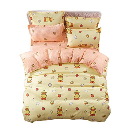 4pcs Bedding Set Duvet Cover Set 100% Combed Cotton Flat Sheet Duvet Cover PillowCase KY Twin Full Queen Easter Eggs Cartoon Design (Twin, Naughty Duck, Yellow) ()