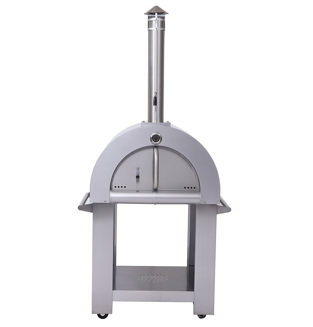 Thor Kitchen Outdoor Wood Fried Pizza Oven Stainless Steel Cooking Area 5.17ft Sliver with Wheels