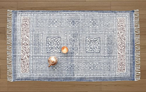 Storeindya Area Carpet Rug for Living Room with Printed Design Cotton Floor mat and Tassels Home Décor (35x60 Blue Tibal Collection)