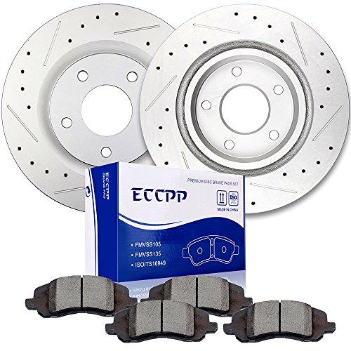 Brake Rotors Brakes Pads Kits,ECCPP 2pcs Front Discs Brake Rotors and 4pcs Ceramic Disc Brake Pads Set for Chrysler 200,Chrysler Sebring,Dodge Caliber,Jeep Compass,Jeep Patriot