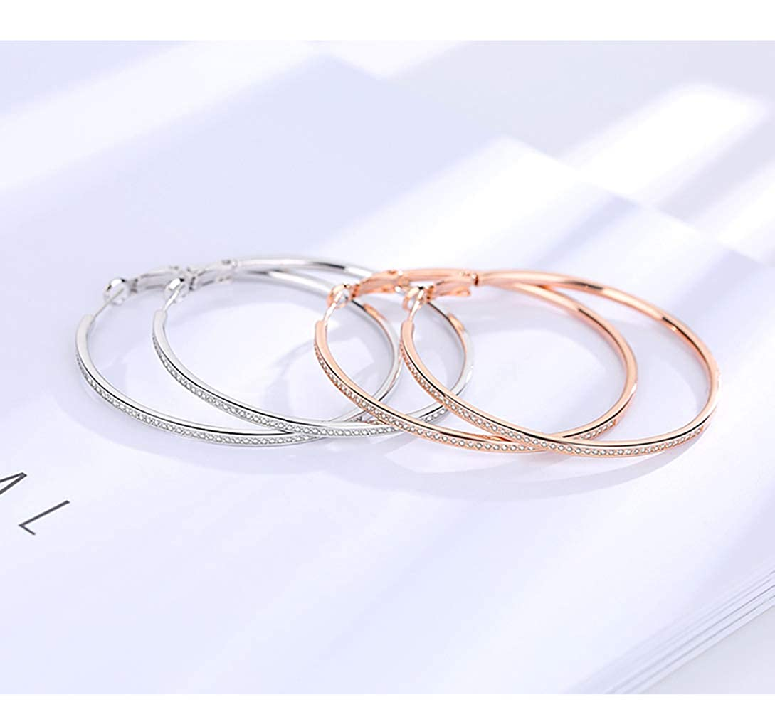 3 Pairs Big Hoop Earrings,50mm Stainless Steel 18K Gold Plated Rose Gold Plated Silver Cubic Zirconia Hypoallergenic Hoops for Women Girls,(Set of 3 Colors)