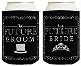 Bridal Shower Gifts Future Bride & Groom Wedding Gift 2 Pack Can Coolie Drink Coolers Coolies Black