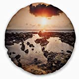 Designart CU11023-20-20-C Rocky Coastline Sunset Africa' Oversized Beach Throw Cushion Pillow Cover for Living Room, Sofa, 20'' Round