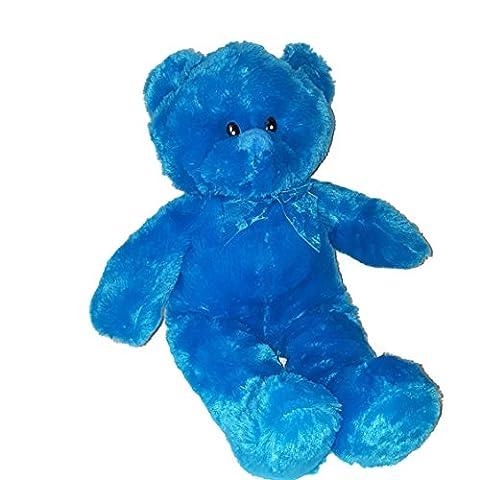 16 Inch Bear Colorful NEON Plush Teddy Bear Stuffed Animal (blue) - Blue Plush Bear