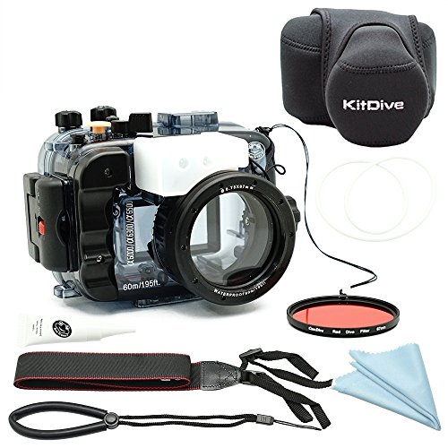 For Sony A6500 A6300 A6000 [ILCE-6500/6300/6000] 195FT/60M Underwater camera diving waterproof housing(Housing + Cover + Red Filter) (Water Case For Sony Camera)