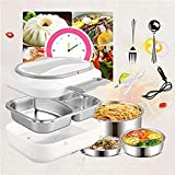 Electric Heating Lunch Box - Toursion Dual Use Car Home Office Food Warmer Heater Portable Bento Meal Heater with Removable 304 Stainless Steel Container 110V&12V (Free Spoon & Fork)