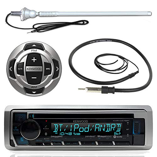 Kenwood MP3/USB/AUX Marine Boat Yacht Stereo Receiver CD Player Bundle Combo w/ RC35MR Wired Remote Control,  Enrock Water Resistant 22