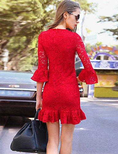 PU&PU Robe Aux femmes Lace Vintage,Couleur Pleine Col Arrondi Au dessus du genou Polyester , black-l , black-l