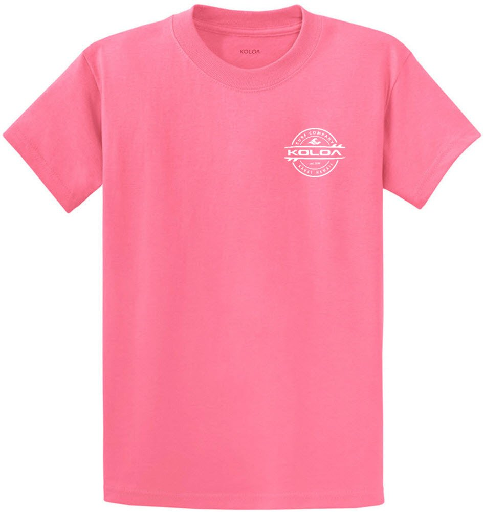 Joe's USA Koloa Surf 2-Sided Thruster Logo Heavy Cotton T-Shirt-Candy/w-S