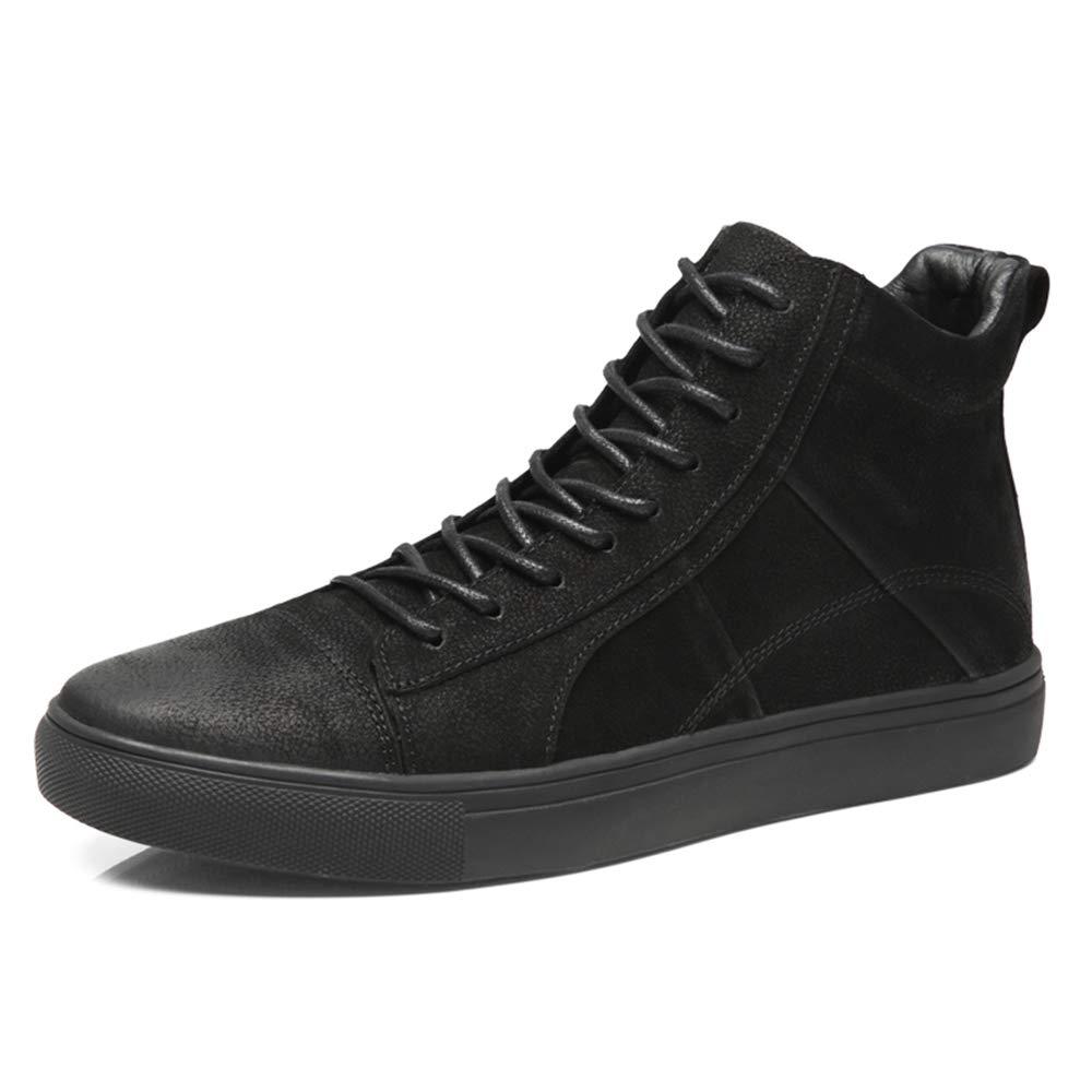 Gobling Men's Ankle Boots, Casual Anti-Slip High Top Flat Heel Sport Boots (Warm Velvet Optional) (Color : Black, Size : 9.5 D(M) US)