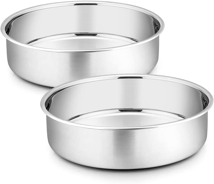 8 Inch Cake Pan Set, P&P CHEF 2-Pieces Stainless Steel Round Oven Baking Pans for Birthday Weeding, Heavy Duty & Non Toxic, Mirror Polished & Dishwasher Safe