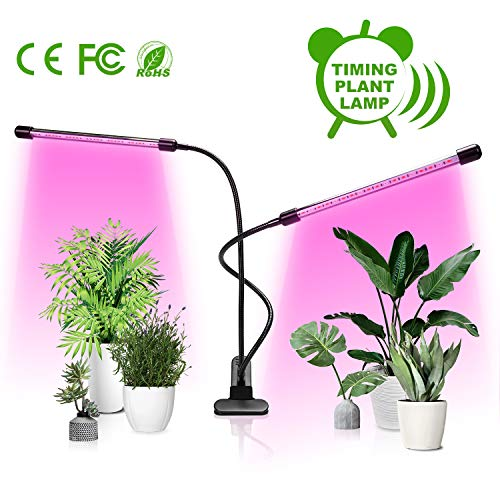 Grow Light,Art accord Upgraded Version Dual Head Timing 36 LED 5 Dimmable Levels Plant Grow Lights for Indoor Plants with Red Blue Spectrum, Adjustable Gooseneck, 3 6 12H Timer, 3 Switch Modes