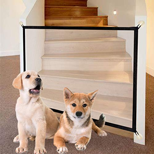 New 40in Magic Gate for Dogs Hooks and Screws Install Pet Gate Safety Guard Gate for Stairs Kitchen Doorways Enclosure…