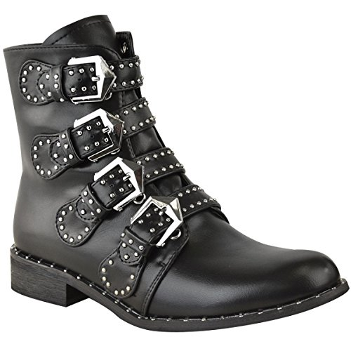 Fashion Thirsty Womens Studded Buckle Ankle Boots Chelsea Biker Punk Strappy Size 9 (Biker Studded Boots)