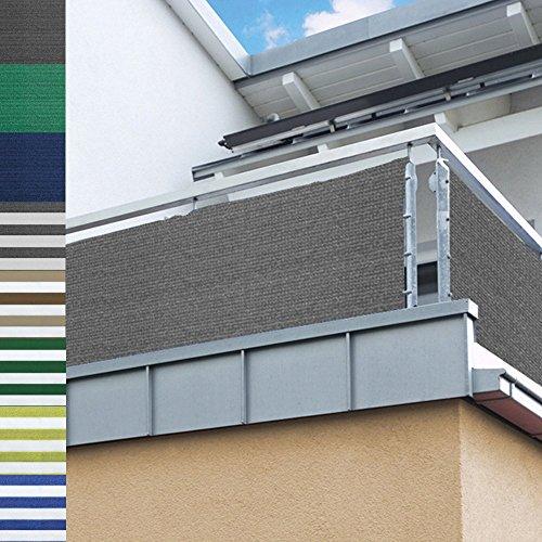 Balkon Sichtschutz nach Maß in Grau Meterware langlebiges & UV beständiges HDPE Gewebe mit Metallösen - Farbwahl