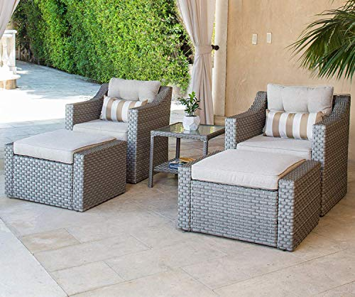 (Solaura Patio Sofa Sets 5-Piece Outdoor Furniture Set Grey Wicker Lounge Chair & Ottoman with Neutral Beige Cushions & Glass Coffee Side Table)